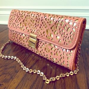 Ivanka Trump Pink and Gold Dress Clutch Purse
